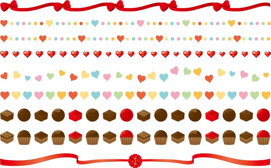 フリーイラスト リボンとハートとチョコのバレンタインのラインのセット