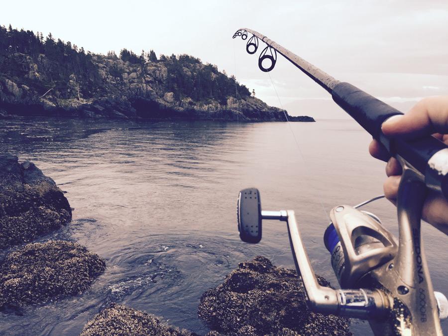 フリー写真 釣り竿とリールと手