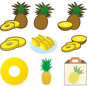 フリーイラスト, ベクター画像, AI, 食べ物(食料), 果物(フルーツ), パイナップル