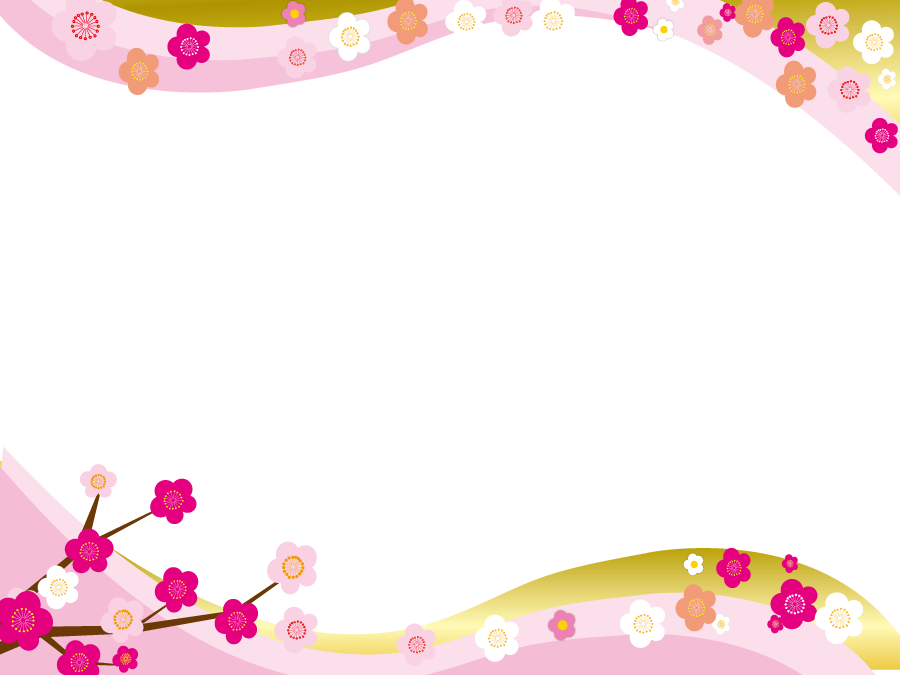 フリーイラスト 梅の花の和風の飾り枠