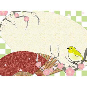 フリーイラスト, ベクター画像, AI, 背景, 扇子, 市松模様, 花びら, 桜(サクラ), 梅(ウメ), 鳥(トリ), メジロ, 春