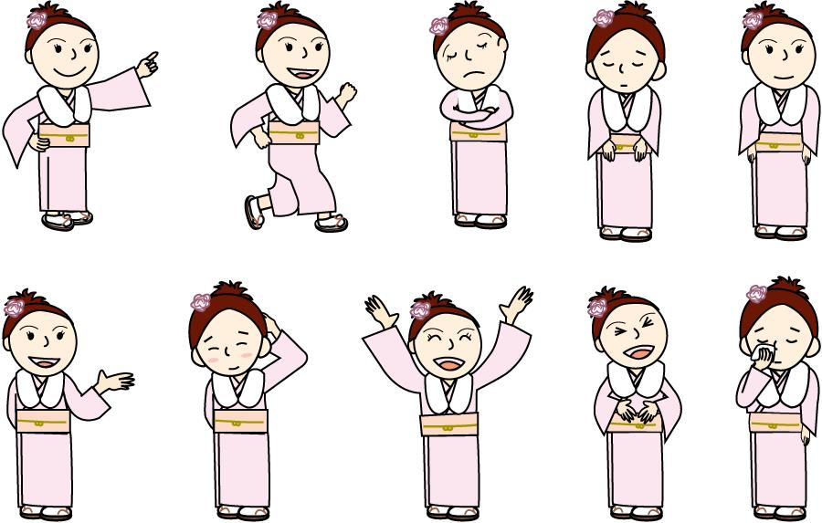 フリーイラスト 10種類の振り袖姿の新成人の女性のセット