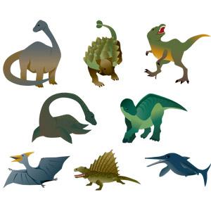 フリーイラスト, ベクター画像, AI, 動物, 爬虫類, 恐竜, ブラキオサウルス, ティラノサウルス