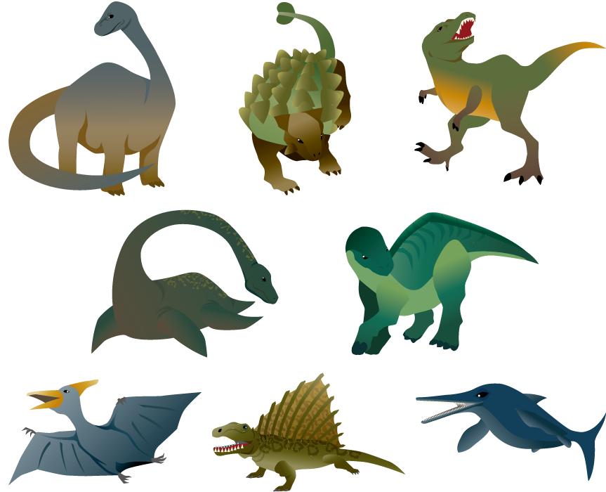 フリーイラスト ティラノサウルスなどの8種類の恐竜のセット