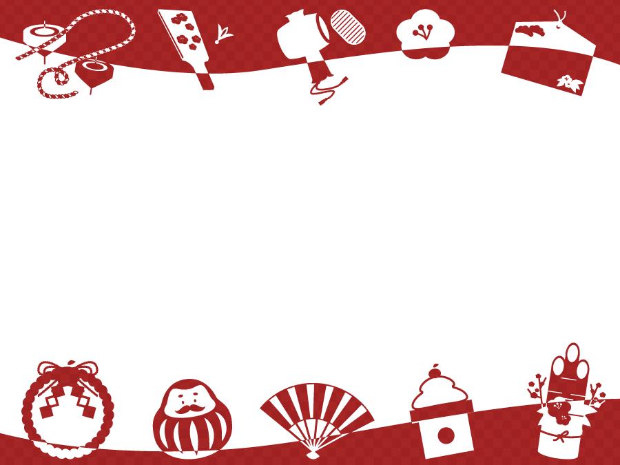 フリーイラスト お正月関連のシルエットの飾り枠