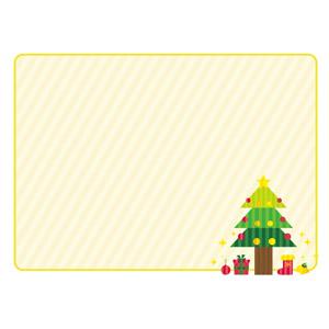フリーイラスト, ベクター画像, AI, 背景, フレーム, 囲みフレーム, 年中行事, クリスマス, 12月, クリスマスツリー, 縞模様(ストライプ)