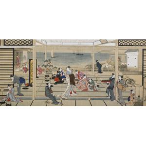 フリー絵画, 喜多川歌麿, 浮世絵, 風俗画, 部屋, 海, 船, 宿屋, 女性, 着物, 遊女, 和服, 和室, 宴会, 日本の風景, 演奏する, 月