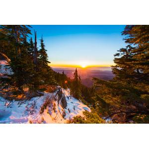フリー写真, 風景, 自然, 山, 朝日, 朝焼け, 日の出, アメリカの風景, ワシントン州, 雪