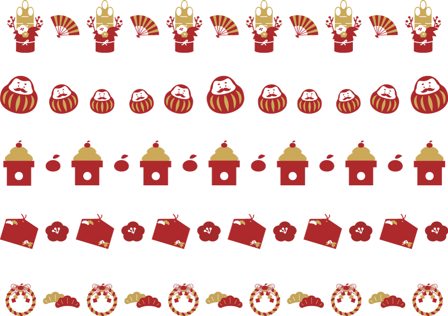 フリーイラスト 門松や鏡餅や注連飾りなどの5種類のお正月のラインのセット