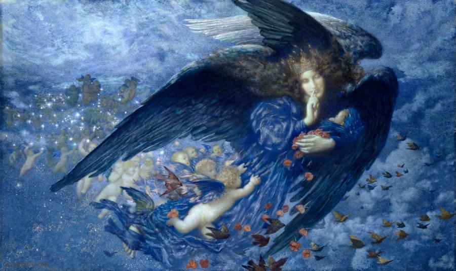 フリー絵画 エドワード・ロバート・ヒューズ作「星達を引き連れた夜」