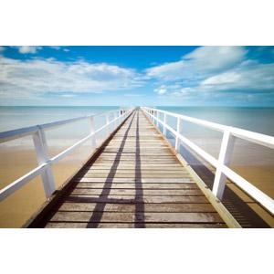 フリー写真, 風景, 建造物, 建築物, 桟橋, 砂浜(ビーチ), 海, 雲