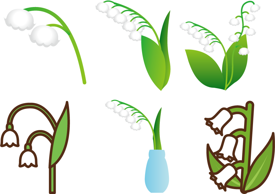 フリーイラスト 6種類のスズランの花のセット