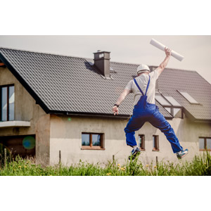 フリー写真, 人物, 男性, 後ろ姿, 跳ぶ(ジャンプ), 設計図, 仕事, 職業, 建築士(建築家), 喜ぶ(嬉しい), 建設作業員