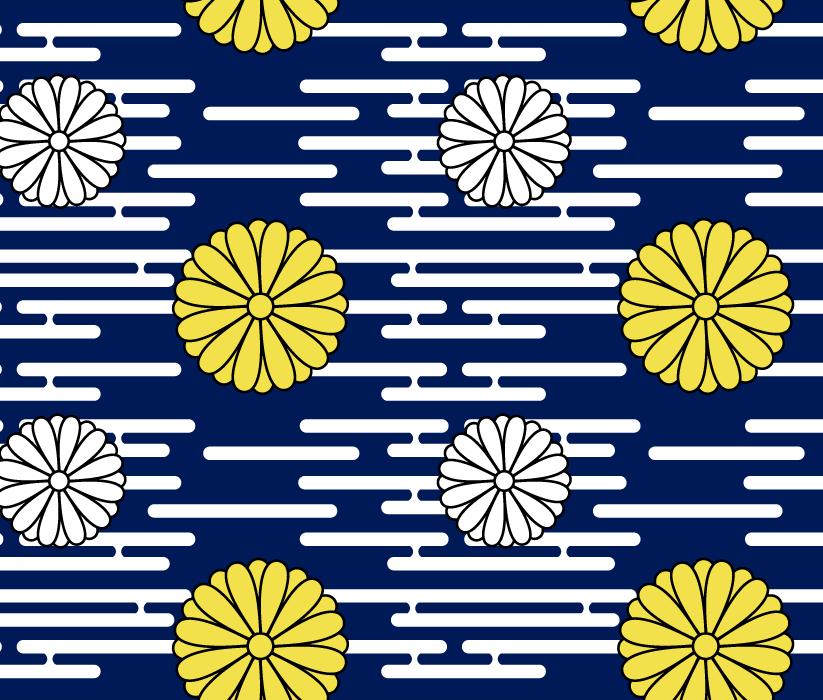 フリーイラスト 菊花紋章の和柄背景