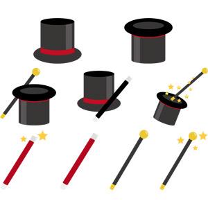 フリーイラスト, ベクター画像, AI, 手品(マジック), 帽子, シルクハット, マジックステッキ