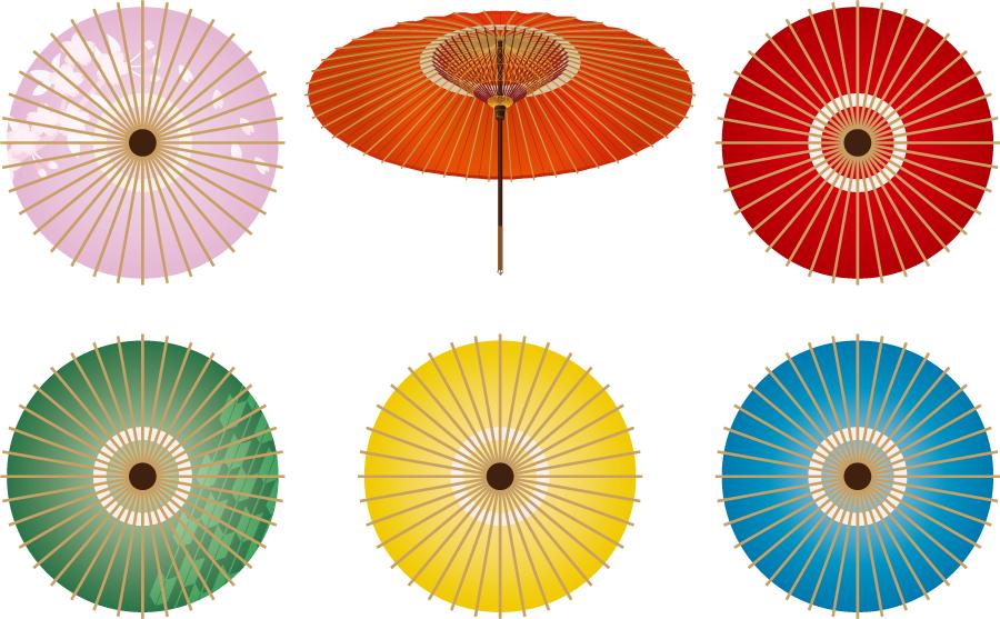 フリーイラスト 6種類の和傘のセット