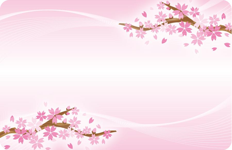 フリーイラスト 桜の花の咲く枝のフレーム