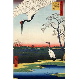 フリー絵画, 歌川広重(安藤広重), 浮世絵, 名所江戸百景, 動物, 鳥類, 鳥(トリ), 鶴(ツル), 丹頂鶴(タンチョウヅル), 田舎, 日本の風景
