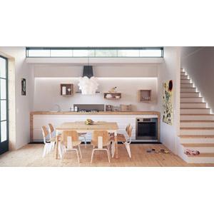 フリー写真, 風景, 部屋, リビングルーム, 台所(キッチン), ダイニングテーブル, 椅子(チェア), 階段