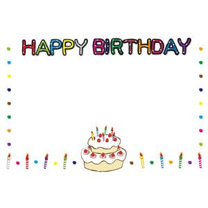 フリーイラスト, ベクター画像, EPS, 背景, フレーム, 囲みフレーム, 誕生日(バースデー), バースデーケーキ, ろうそく(ロウソク), ハッピーバースデー