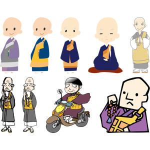 フリーイラスト, ベクター画像, AI, 人物, 老人, シニア男性, 仕事, 職業, お坊さん(僧), 和尚, 袈裟
