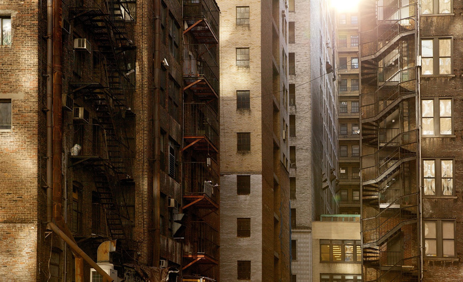 フリー写真 集合住宅の建ち並んだ風景