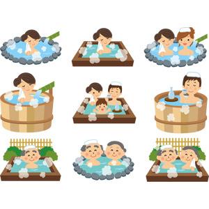 フリーイラスト, ベクター画像, AI, 温泉, 露天風呂, お風呂, 入浴, 人物, 女性, 男性, 家族, 夫婦, 祖父(おじいさん), 祖母(おばあさん), 友達, 日本酒, 徳利(とっくり), お猪口(おちょこ)