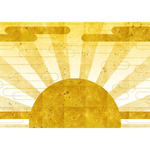 フリーイラスト, 背景, 和柄, 初日の出, 朝日, 日の出, 年中行事, 1月, 正月, 元旦(元日), 金色(ゴールド), 年賀状, 太陽光(日光)