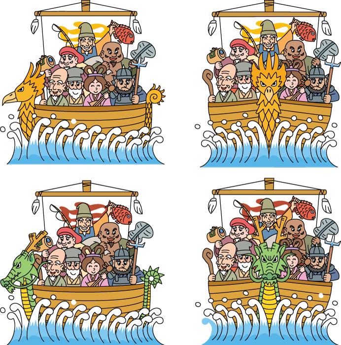 フリーイラスト 4種類の宝船に乗る七福神のセット