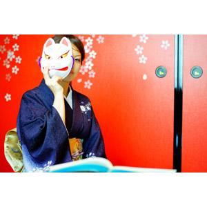 フリー写真, 人物, 女性, アジア人女性, 日本人, 和服, 着物, 狐面, お面