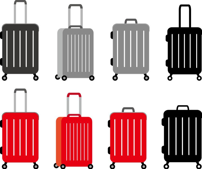 フリーイラスト 8種類のスーツケースのセット