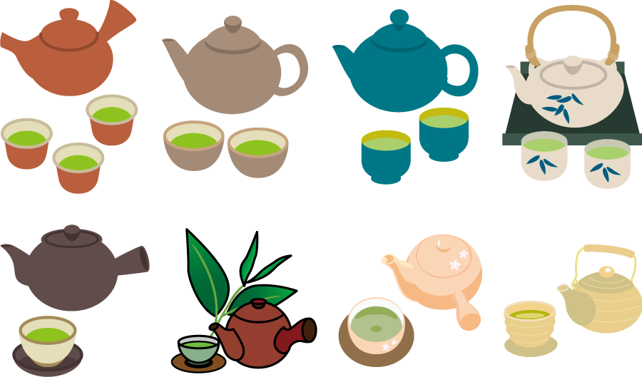 フリーイラスト 8種類の急須と茶碗と緑茶のセット