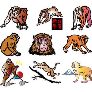 フリーイラスト, ベクター画像, AI, 動物, 哺乳類, 猿(サル), 申年, 謹賀新年, 初日の出, 富士山, 動物の顔, ジャンプ(動物), エレキギター, 正月, 元旦(元日), 1月