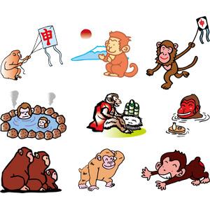 フリーイラスト, ベクター画像, AI, 動物, 哺乳類, 猿(サル), 申年, 初日の出, 富士山, 正月, 元旦(元日), 1月, 凧(たこ), 温泉, 門松, 露天風呂, 入浴(動物)