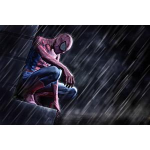 フリー写真, スパイダーマン, 雨, ヒーロー, フォトレタッチ, しゃがむ, 落ち込む(落胆), 失望(絶望)