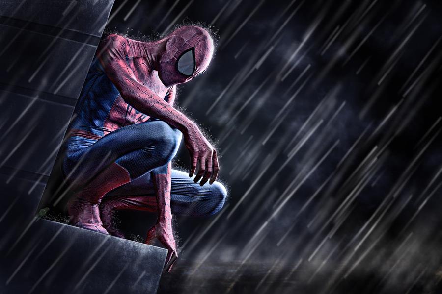フリー写真 雨に打たれるスパイダーマン