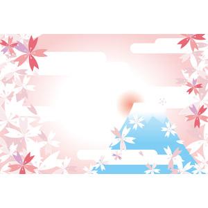 フリーイラスト, ベクター画像, AI, 背景, 桜(サクラ), 春, 山, 富士山, 朝日, 日の出, 和柄