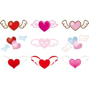 フリーイラスト, ベクター画像, AI, エンジェル・ハート, ハート, 羽(翼), 愛(ラブ), 年中行事, 2月, バレンタインデー