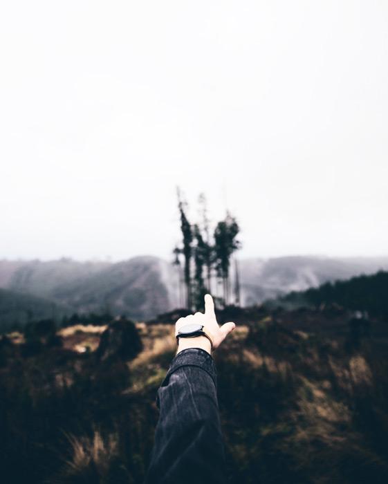 フリー写真 山を指差す手