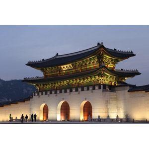 フリー写真, 風景, 建造物, 建築物, 門(ゲート), 景福宮, 宮殿(王宮), 韓国の風景, ソウル特別市, 日暮れ