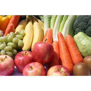 フリー写真, 食べ物(食料), 野菜, 果物(フルーツ), リンゴ, バナナ, 人参(ニンジン), マスカット