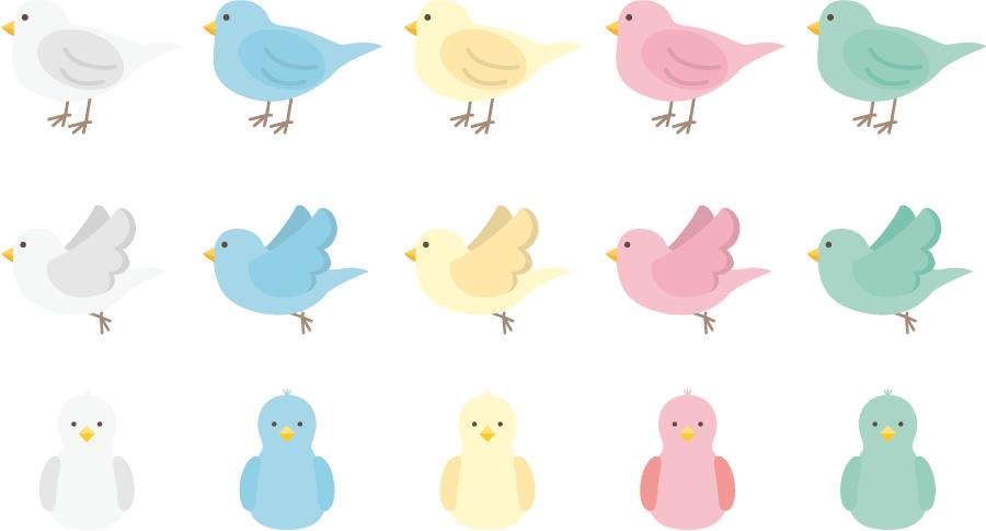 フリーイラスト 15種類の小鳥のセット