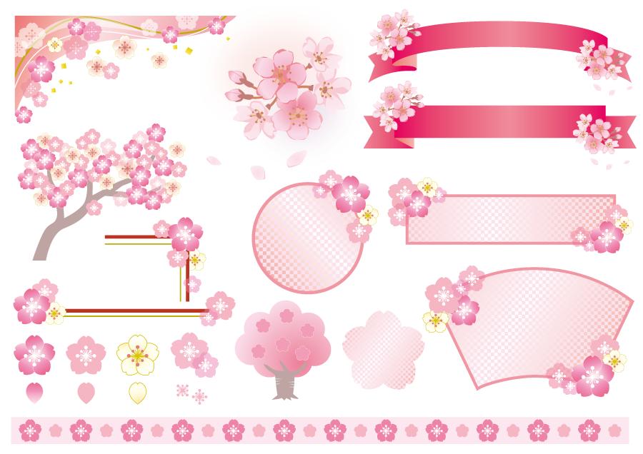 フリーイラスト 桜の花の帯リボンやラインなどのセット