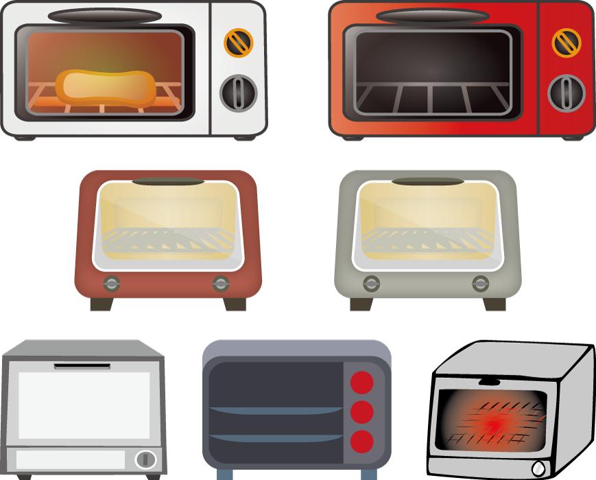 フリーイラスト 7種類のオーブントースターのセット