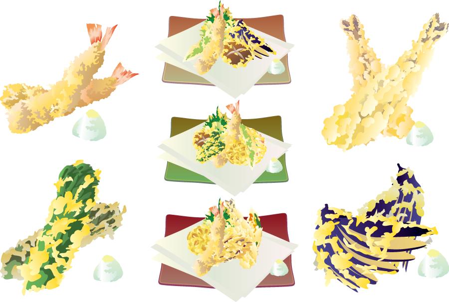 フリーイラスト 盛り合わせなどの7種類の天ぷらのセット