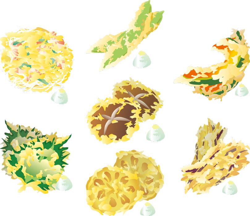 フリーイラスト かき揚げなどの7種類の天ぷらのセット