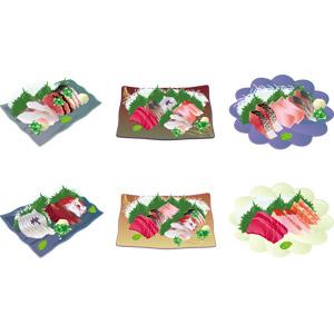 フリーイラスト, ベクター画像, AI, 食べ物(食料), 料理, 日本料理, 和食, 刺身(さしみ), 魚介料理