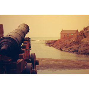 フリー写真, 風景, 兵器, 大砲, カノン砲, 海, 海岸