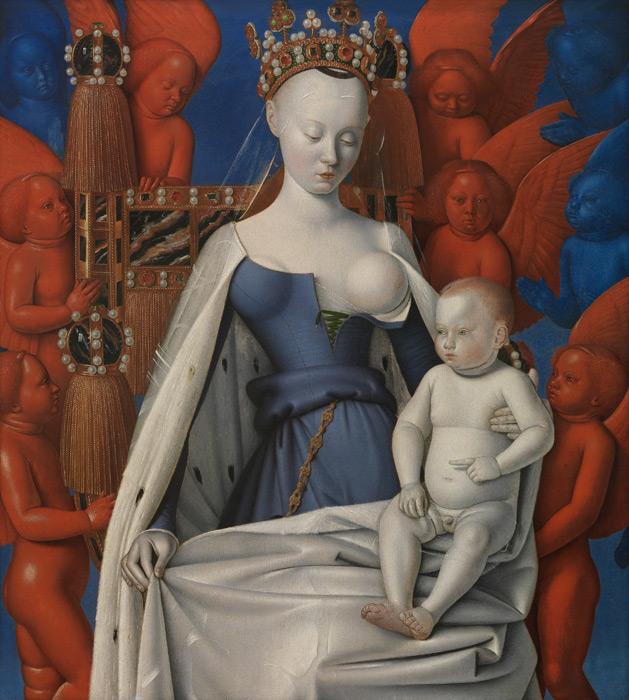 フリー絵画 ジャン・フーケ作「ムランの聖母子」