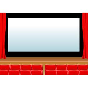 フリーイラスト, ベクター画像, AI, 風景, 映画, 映画館, スクリーン, 舞台幕, 観客席